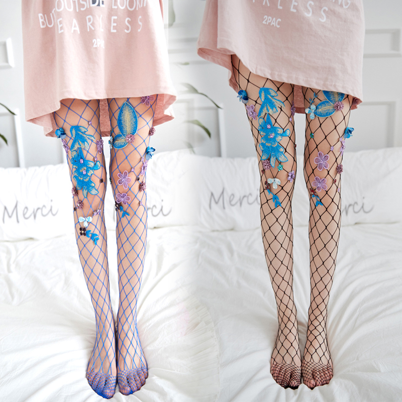LASPERAL Mesh Women Fashion Embroidery Fishnet White Sexy Socks Black Hollow Out Sexy Pantyhose Club Party 2017 New Arrival