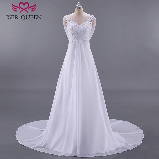 Empire Pregnant Wedding Dress Backless With Wrap Plus Size Fashion Beach Wedding Dresses Court Train Chiffon Bridal Dress W0125