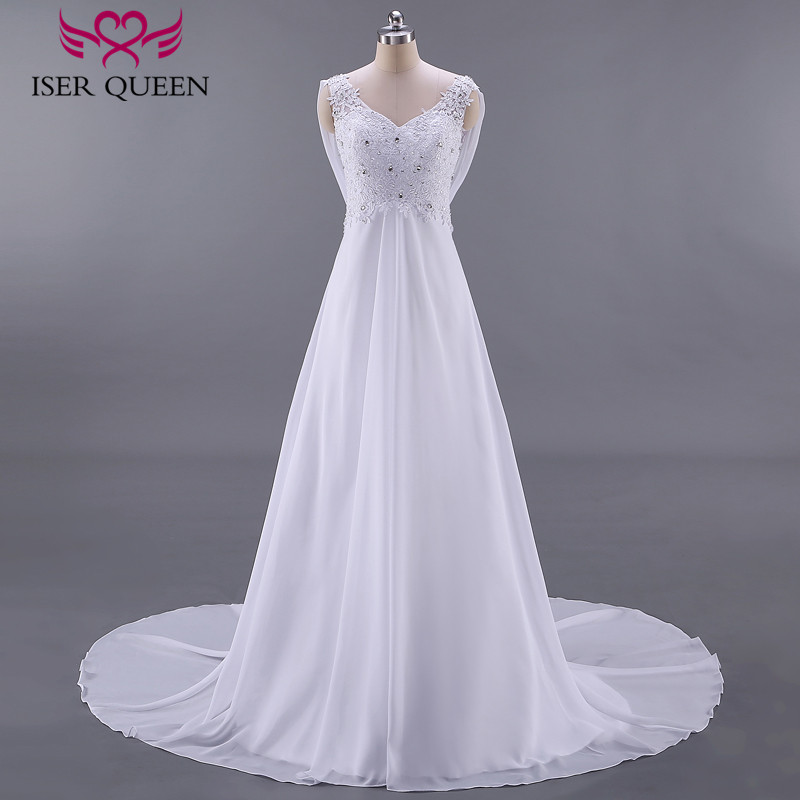 Fashion Beach Wedding Dresses Empire Pregnant Wedding Dress Backless With Wrap Plus Size Court Train Chiffon Bridal Dress W0125-in Wedding Dresses from Weddings & Events    2