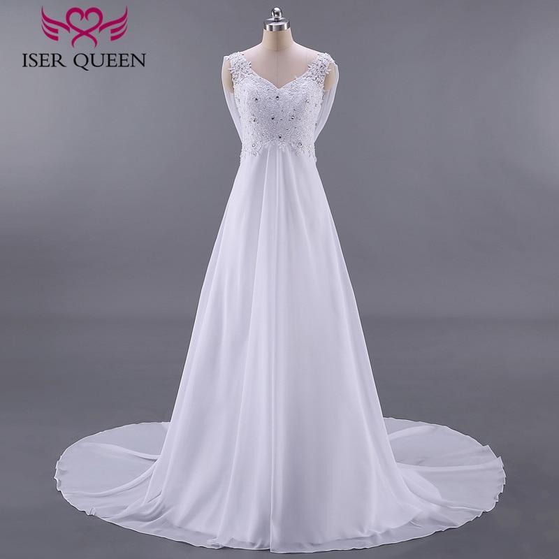 Fashion Beach Wedding Dresses Empire Pregnant Wedding Dress Backless With Wrap Plus Size Court Train Chiffon Bridal Dress W0125
