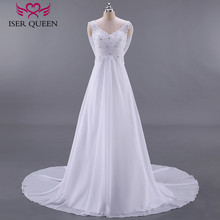 Fashion Beach Wedding Dresses Empire Pregnant Wedding Dress Backless With Wrap Plus Size Court Train Chiffon Bridal Dress W0125