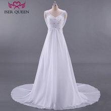 Mode plage robes de mariée Empire robe de mariée enceinte dos nu avec enveloppement grande taille Court Train en mousseline de soie robe de mariée W0125