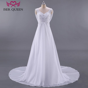 Image 1 - 패션 비치 웨딩 드레스 제국 임신 웨딩 드레스 다시 포장 플러스 크기 법원 기차시 폰 신부 드레스 w0125