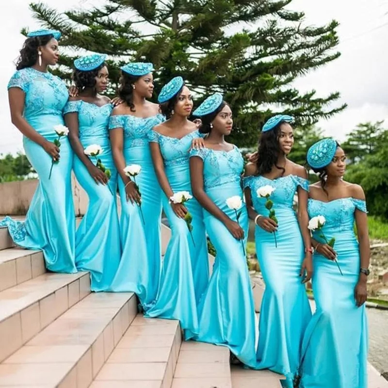 Light Blue Mermaid Bridesmaid Dresses 2019 Sexy Off Shoulder African Women Formal Party Dress Long Formal Wedding Guest Gowns