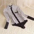 Nueva marca mujeres OL rayas de manga larga de algodón Casual cuerpo blusa mujeres Tops una pieza de camisa cuerpo Blusas más el tamaño S-XL