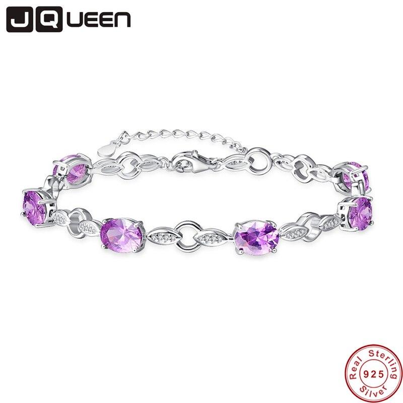 JQUEEN 2017 Nouvelle Arrivée De Luxe 925 Argent Bracelet Feuilles Bracelet 925 Ovale Cut Améthyste Chaîne Bracelet pour les Femmes Femme