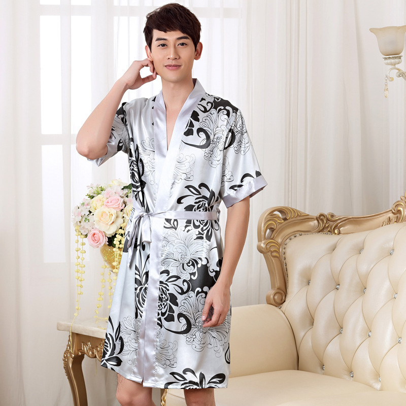 Summer Nightgown Sleepshirts Men Kimono Robe Faux Silk Bath Gown Sleepwear Lounge Casual Silky Nightwear Female Dress M-XXL