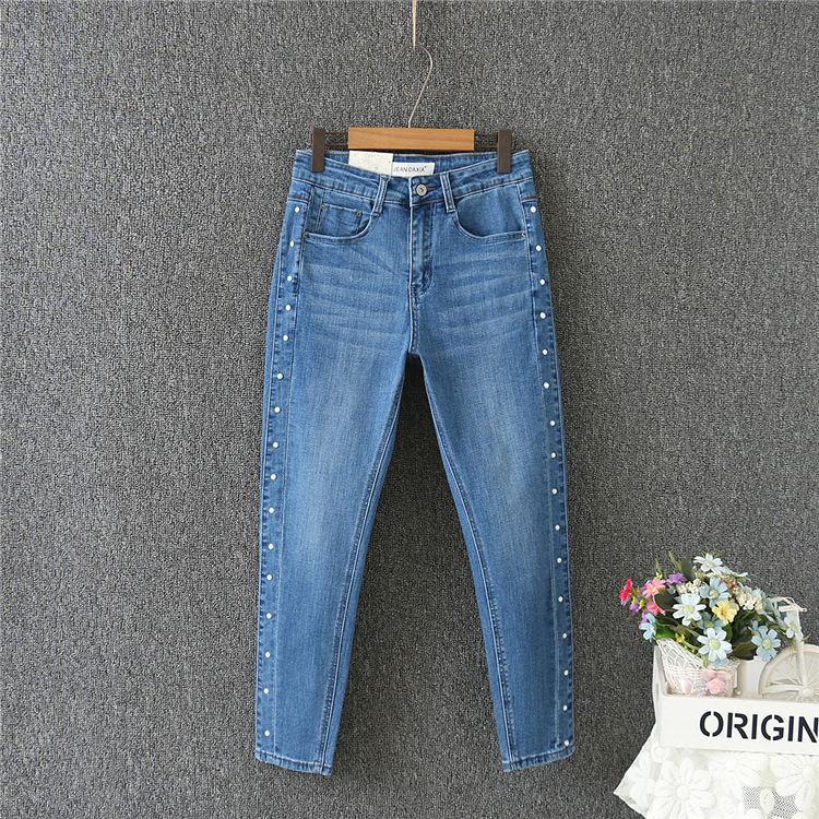 2018 plus size Stretchable Spring autumn fashion brand jeans blue casual denim pants woman pencil jean trousers 30 40 big size-in Jeans from Women's Clothing