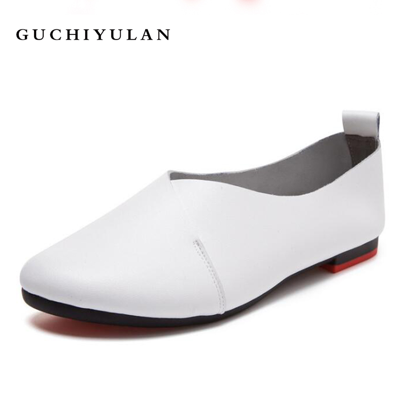 New quality Women Black White Loafer Shoes Woman Sexy Comfortable Slip-on Genuine Leather Casual Shoes Round Toe Driving shoes