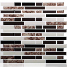 Self Adhesive 3D Mosaic Tile Mixed Brown Marble Oblong Wall Sticker Backsplash Vinyl Bathroom Kitchen Home Decor Peel and stick