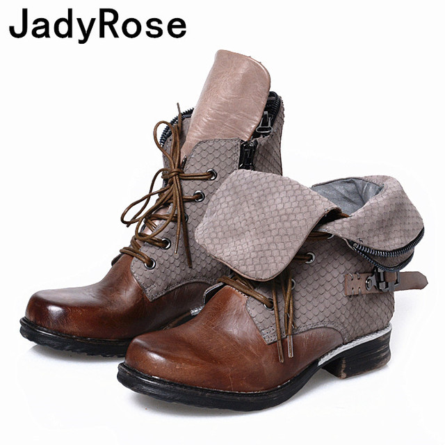 2cfbc15ff30a women vintage fashion winter boots genuine leather military ankle boot  shoes woman lace up ladies booties flats botas mujer