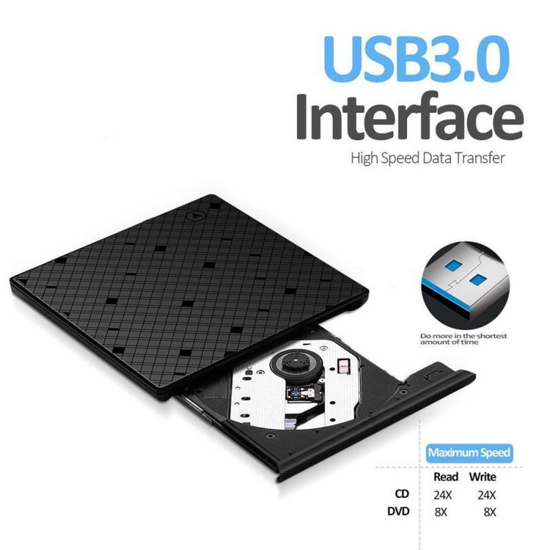 External DVD ROM USB 3.0 CD DVD Rewriter Burner Reader for Laptop PC MAC Mobile Recorder Computer/Office Accessory