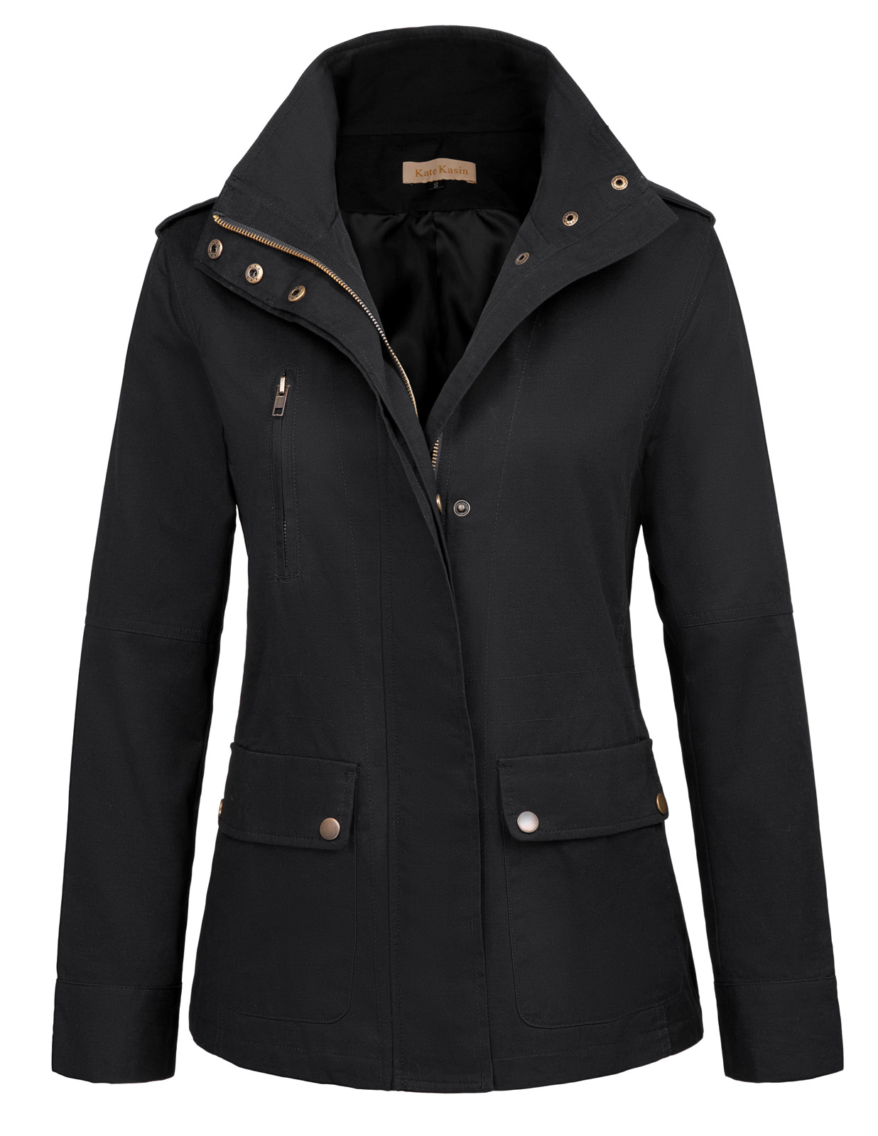 clothes Women Basic Jackets Military Coat Winter Cotton Stand Collar Long Sleeve Zipper pockets Autumn Jackets Outerwear ladies