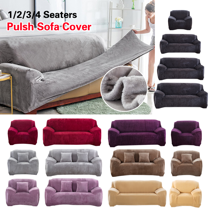 Plush Sofa Cover Stretch Solid Color Thick Slipcover Sofa Covers For Living Room Pets Chair Cover Cushion Cover Sofa Towel 1PC