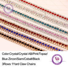 Feilang ss8+ss16 3 Rows Glass Rhinestones Cup Chain,1Yard/lo tCrystal AB Garment Accessories Chain Sew On