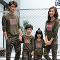 family matching clothes Autumn 2017 army green camouflage sweatshirts  long sleeve t-shirts Family Pack