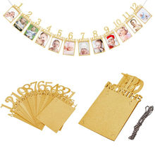 1 Set 12pcs Kids Birthday Gift Decorations 1-12 Month Photo Frame Banner Golden Craft Paper Picture Frame String Garland Pendant(China)