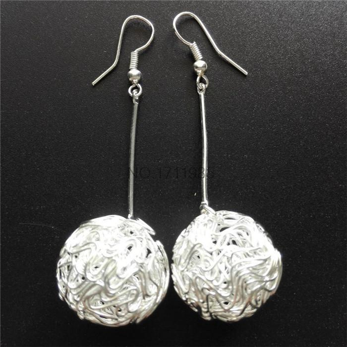 Modern Simple Design Gold Silver Wire Ball Long drop Earrings for ...