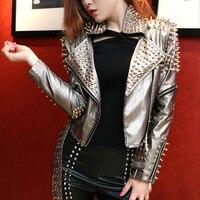 Европейские и американские Для женщин панк Стиль ручной заклепки куртка мотоциклетная кожаная куртка Рок Короткие Дизайн серебро Куртки