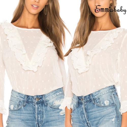 Lace Sexy Shirt Womens Ladies Fashion Ruffle Frill Long Sleeve Casual Top Shirt Blouse 4