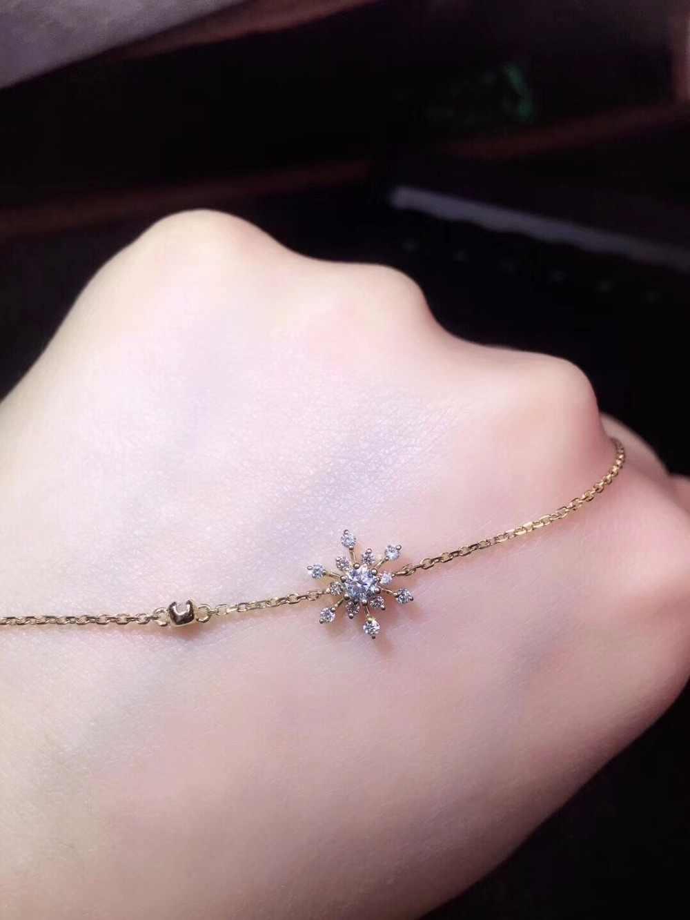 Fine Jewelry Real K Ouro Branco AU750 18 G18K 100% Natural Diamond Star Jóias Amor Pulseiras para as mulheres Pulseira Fina