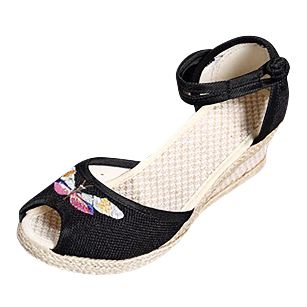 SAGACE Sandals Linen Wedge Singles-Shoes Round-Toe Fashion Women Ladies Retro Casual