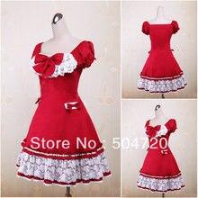 V-1213 Rot baumwolle Süße Schule Lolita Kleid/viktorianischen kleid Cocktailkleid/halloween-kostüm US6-26 XS-6XL