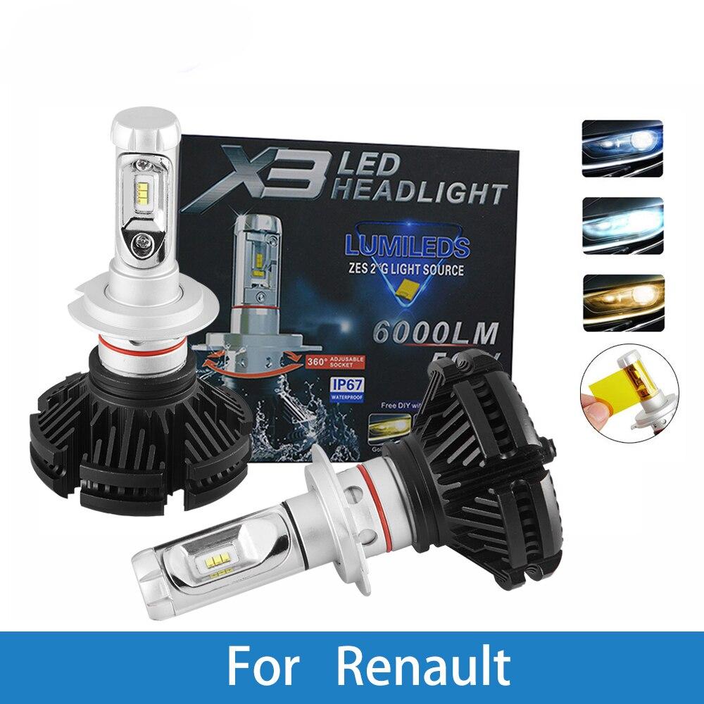LED Car Headlight Bulb H4 H7 H3 H1 9005 9007 12V Auto Lamp For Renault Clio/Duster/Fluence/Kangoo/Koleos/Laguna/Logan/Scala