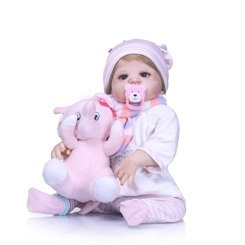 Original NPK dolls  pink elephant  full silicone reborn baby dolls toy gifts 2255cm Bebes reborn com corpo de silicone menina Original NPK dolls  pink elephant  full silicone reborn baby dolls toy gifts 2255cm Bebes reborn com corpo de silicone menina