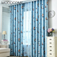 Cute Cartoon Shading Printed Polyester Curtain Curtain Cloth Vertical Curtain Supply Of Drilling Hole Curtains For