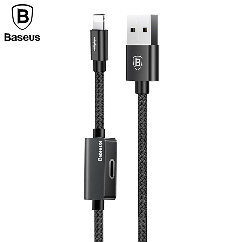 Baseus 2in1 Charger Cable For iPhone Lightning 8 X 10 Plus Aux Jack Music Charging Audio Adapter Cable Headphone Earphone Cable