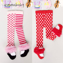 emmababy brand new toddler baby kids girls christmas redpink cotton lace dot pantyhose princess