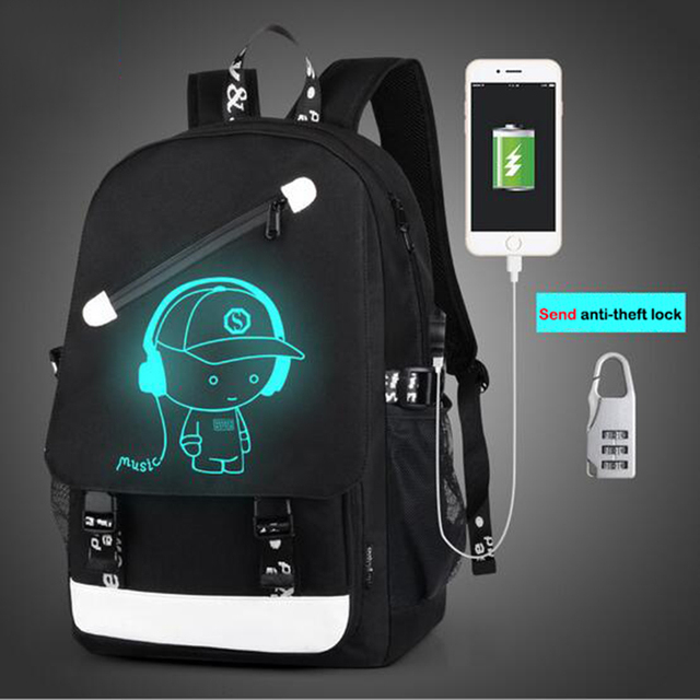 BAIBU 2017 Night light Casual Men's Backpack Fashion 15.6inch Laptop Backpack Teenagers Men's Team Cartoon School Bag