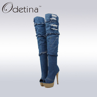 Odetina Brand New Blue Women Denim Thigh High Boots Peep Toe Over The Knee Boots Ladies