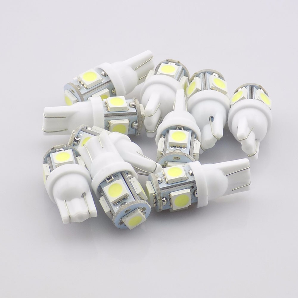 QvvCev 10pcs T10 5 LED Car Lamp White Bulb SMD 5050 Shown Wide Lights License Plate Bulbs Driving Lights Auto Light Source 2pcs t10 5050 smd 13 led car light 110lm auto led license plate light bulb lamp