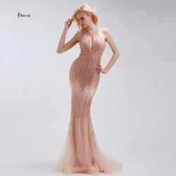 Finove Evening Vestidos 2019 Sexy Champagne Cristal Beading Vestido De Festa Tulle Da Sereia Vestido de Festa Da Moda Em Mulheres Vestidos