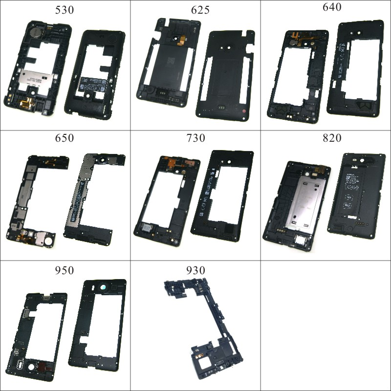 For Nokia Lumia 530 625 640 650 730 820 950  Rear Back Plate Middle Frame Bezel With Loud Speaker Parts
