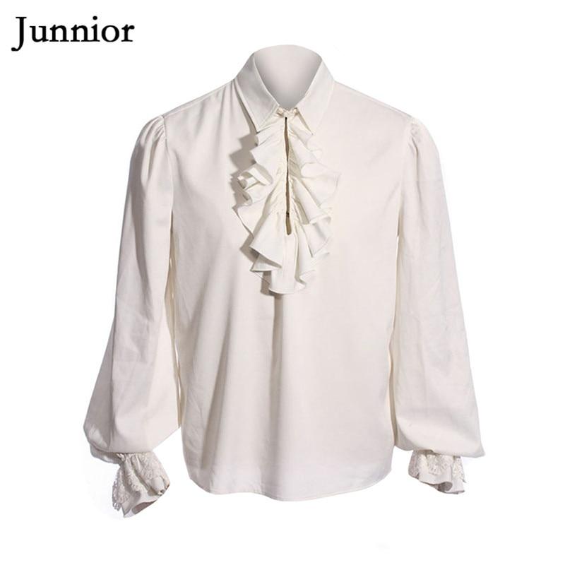 Tuxedo Shirt Blouses Drama-Costumes Long-Sleeve Medieval Ruffled White Man Camisa Middeleeuwse