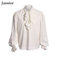Men Ruffled Shirt Blouses Man Drama Costumes Shirts Camisa Hombre Medieval White Tuxedo Shirt Long Sleeve Middeleeuwse Blouse