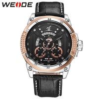 WEIDE Luxury Watches Men High Quality Quartz Waterproof Leather Strap Black Gold Fashion Design Wristwatch Relogio Mascalino