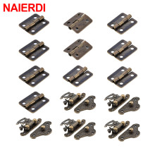 NAIERDI 5Pcs Antique Bronze Jewelry Wooden Box Case Hasp Latch +10Pcs Cabinet Hinges Iron Door Hinge Vintage Hardware Furniture 2pcs naierdi antique bronze hinges cabinet door drawer decorative mini hinge for jewelry storage wooden box furniture hardware