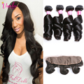 Dark/Light Brown 13x4 Lace Frontal Closure With Bundles 7a Brazilian Virgin Hair With Closure 4 Bundles Loose Wave Lace Frontal