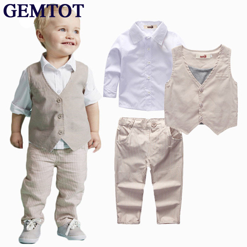 GEMTOT 2017 Boys Clothing Sets Autumn Spring Shirt + Vest + Pants Boys Wedding Clothes Kids Gentleman Leisure Handsome Suit