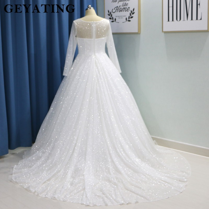Glitter White Bling Bling Ball Gown Wedding Dress Long Sleeves Princess  Plus Size Bride Dresses 2019 Luxury Sparkly Wedding Gown January 2020