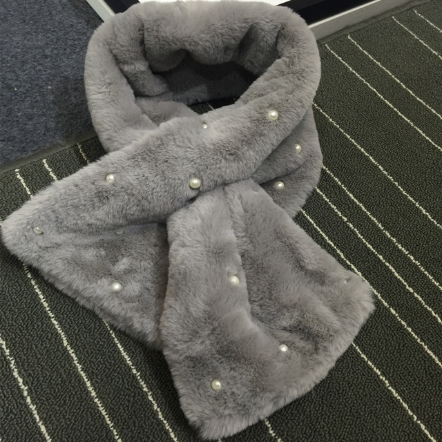 Pearls Tied Fur Scarf | Neck Scarves | Up to 60% Off Now