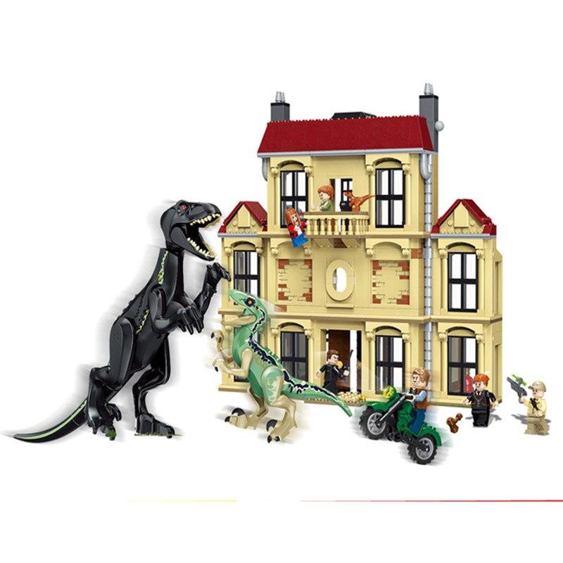 10928 1046 pièces Monde Jurassique Dinosaure Indoraptor Saccage À Lockwood Immobilier Compatible Legoings 75930 Bâtiment jouets blocs