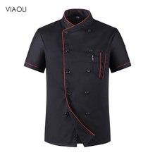 Uniformes Chef chef uniforme unisex Jaqueta de Chef Do Hotel restaurante uniforme atacado do Chef Uniforme Workwear de Manga Curta Respirável