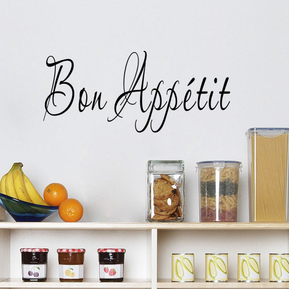 Home Decor New English Bon Appetit Kitchen Bedroom Living Room Wall Stickers Removable 3d Stickers