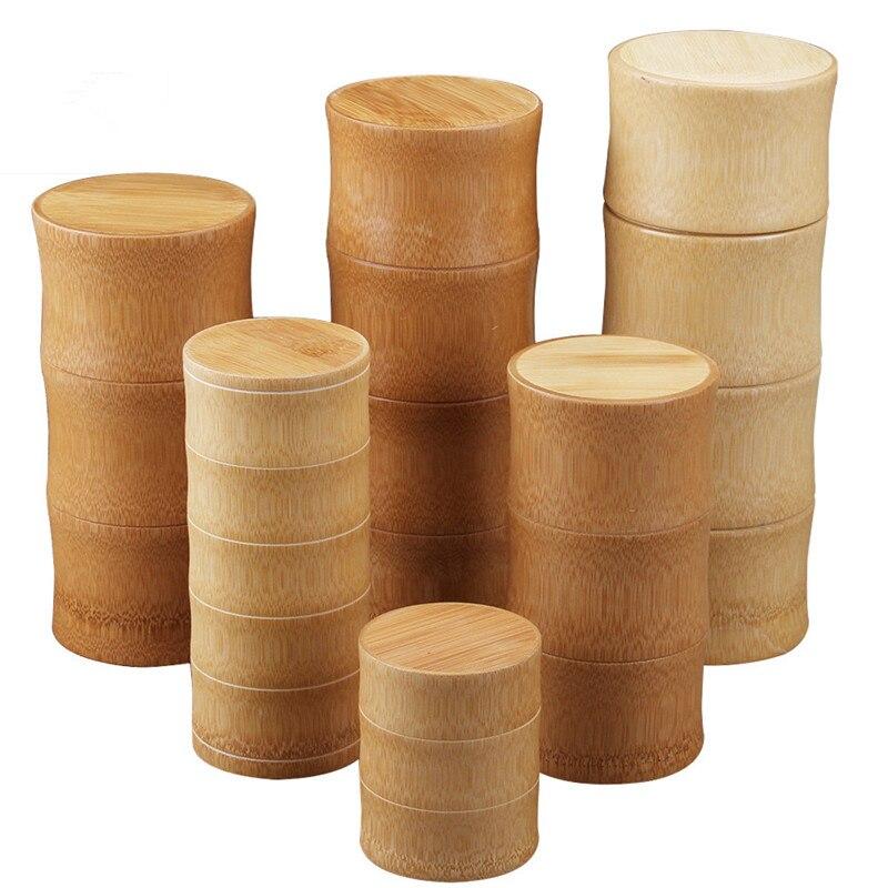 De bambú botellas de almacenamiento de té de cocina tarro latas caso organizador de especias redondo tapas sello caja recipiente para productos a granel