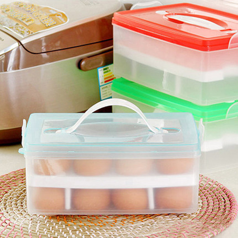 Double layer portable home picnic plastic egg box case 24 grid holder storage container fridge crisper kitchen products